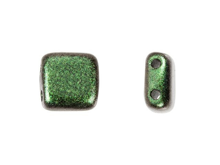 CzechMates Glass 6mm Olive Mauve Polychrome Two-Hole Tile Bead