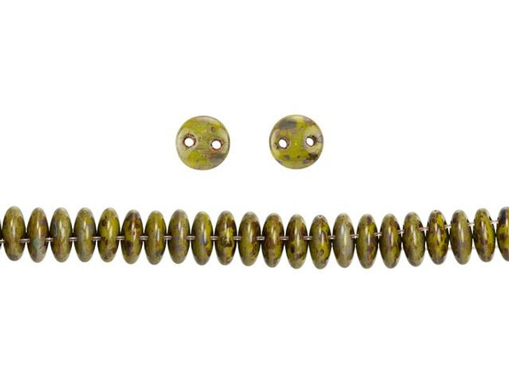 CzechMates Glass 6mm Opaque Olive Picasso 2-Hole Lentil Bead Strand