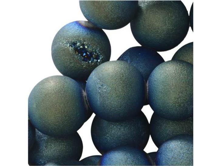 Dakota Stones 10mm Blue-Green Druzy Agate Round Bead Strand