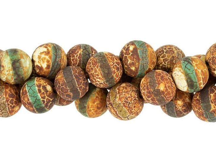 Dakota Stones 10mm Matte Dzi Agate Green Line Round Bead Strand