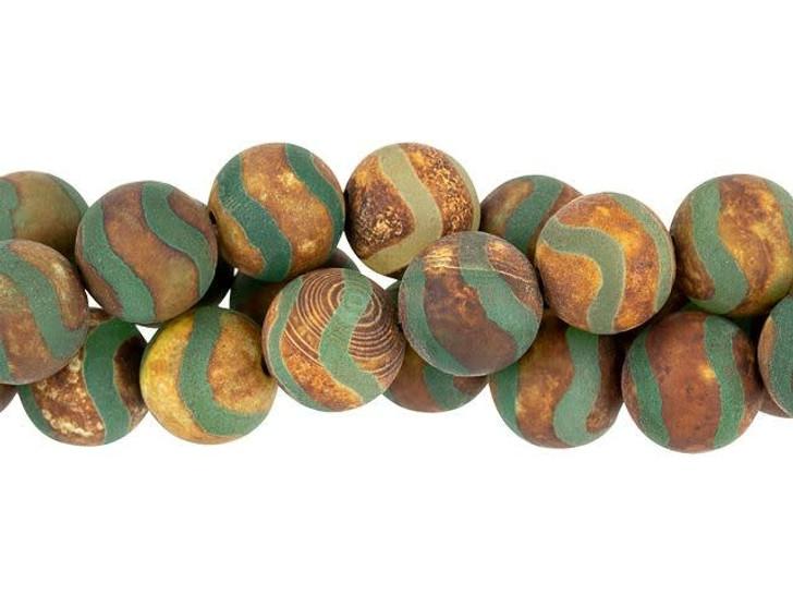 Dakota Stones 10mm Matte Dzi Agate Green Wave Round Bead Strand