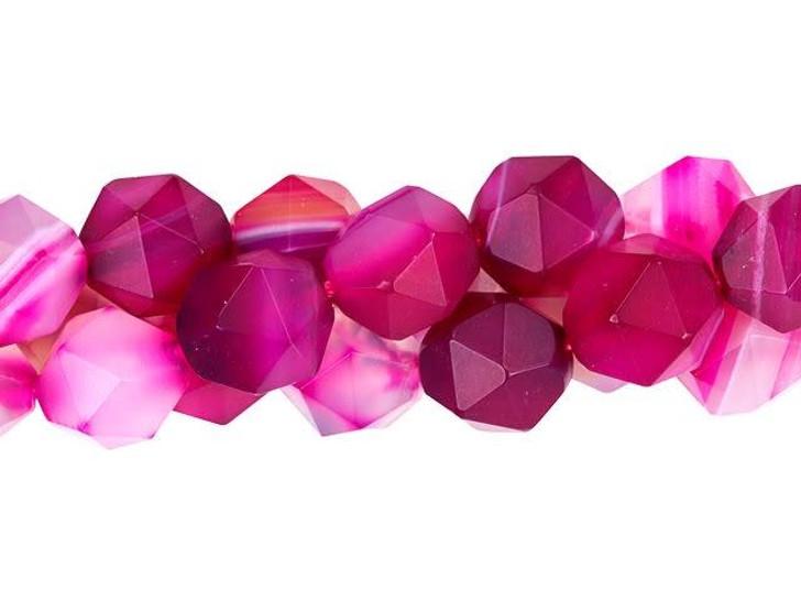 Dakota Stones 10mm Matte Pink Sardonyx Star Cut Round Bead Strand