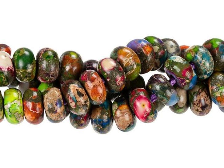 Dakota Stones 10mm Mixed Impression Jasper Large-Hole Rondelle Bead Strand