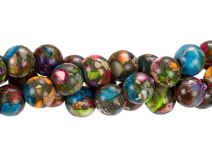 Dakota Stones 10mm Mixed Impression Jasper Large-Hole Round Bead Strand