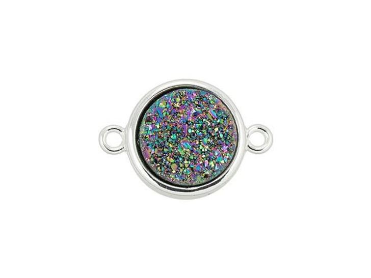 Dakota Stones 10mm Rainbow Druzy Silver-Plated Coin Link
