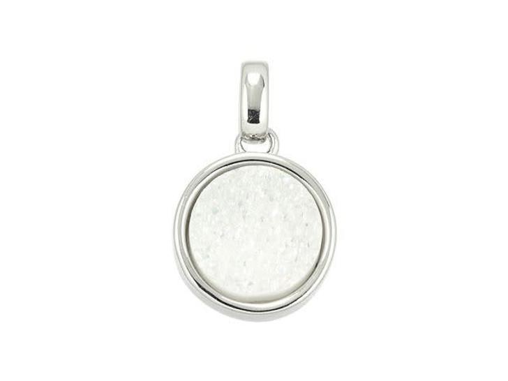 Dakota Stones 10mm White Druzy Silver-Plated Coin Charm