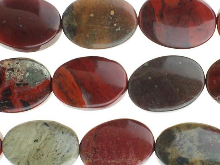 Dakota Stones 10x14mm Apple Jasper Oval Bead Strand