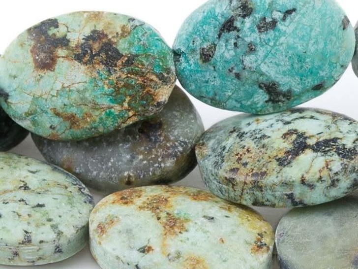 Dakota Stones 10x14mm Matte African Turquoise Jasper Oval Bead Strand