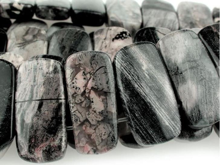 Dakota Stones 10x20mm Black Silver Leaf Jasper Double-Drilled Rectangle Bead Strand