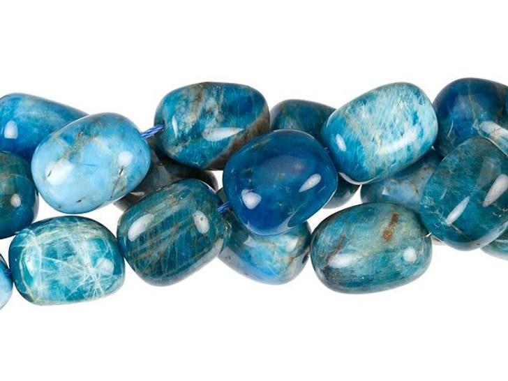 Dakota Stones 12 x 16mm Blue Apatite Tumbled Nugget Bead Strand
