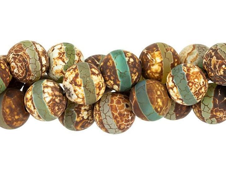 Dakota Stones 12mm Matte Dzi Agate Green Line Round Bead Strand