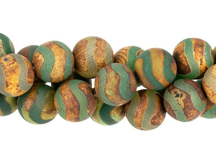 Dakota Stones 12mm Matte Dzi Agate Green Wave Round Bead Strand