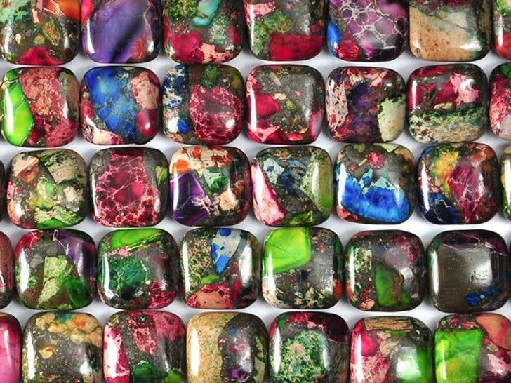 Dakota Stones 12mm Mixed Impression Jasper Square Bead Strand