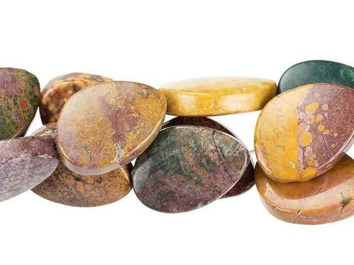 Dakota Stones 13 x 18mm Kabamby Ocean Jasper Free-Form Oval Bead Strand