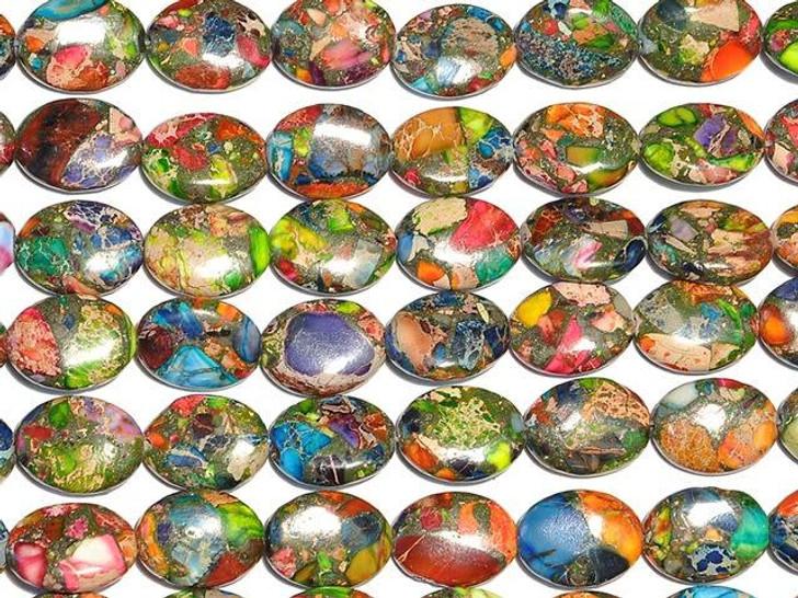 Dakota Stones 13x18mm Mixed Impression Jasper Oval Bead Strand