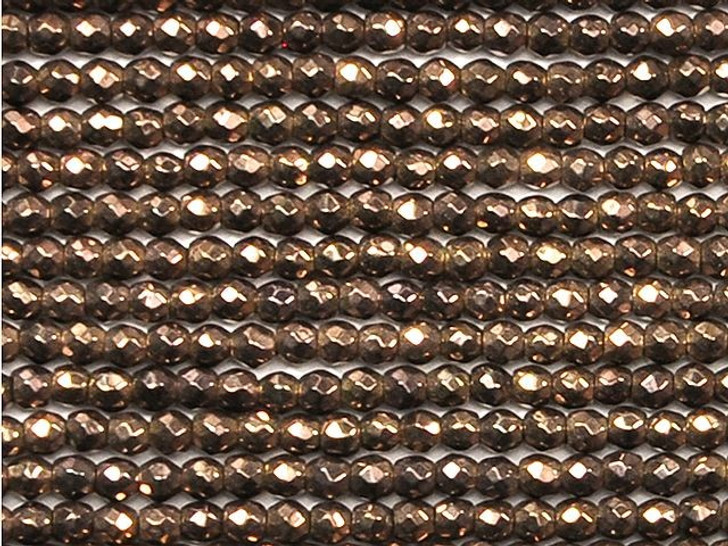 Dakota Stones 2mm Copper-Plated Hematite Faceted Round Bead Strand