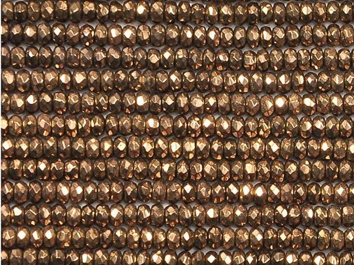 Dakota Stones 3mm Copper-Plated Hematite Faceted Roundel Bead Strand