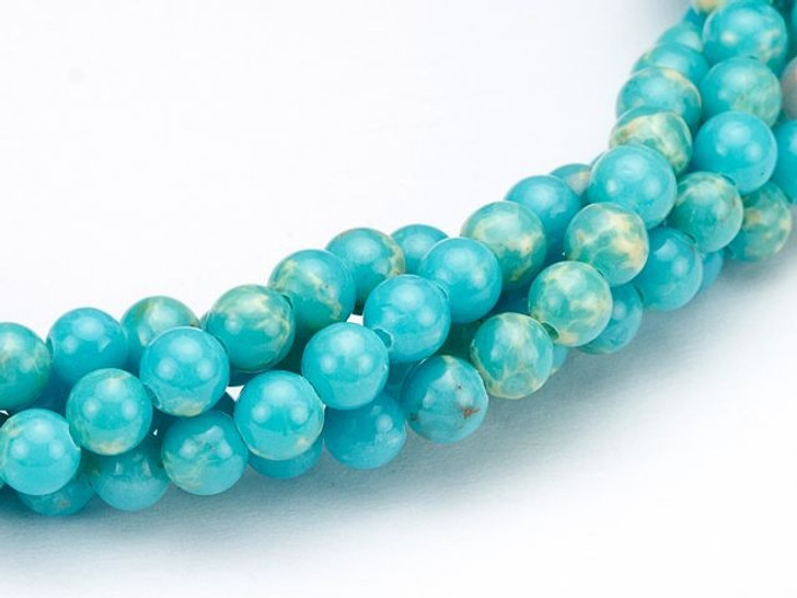 Dakota Stones 4mm Turquoise Blue Impression Jasper Round Bead Strand