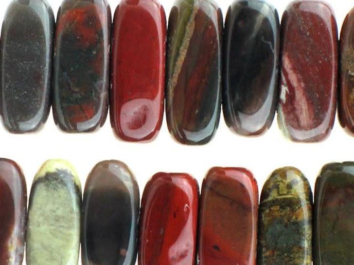 Dakota Stones 5x15mm Apple Jasper Center-Drilled Flat Chip Bead Strand