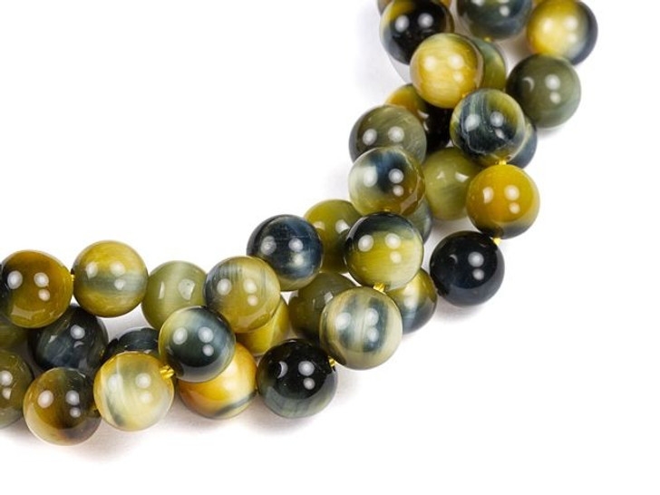 Dakota Stones 6mm Blue-Golden Tiger Eye Round Bead Strand