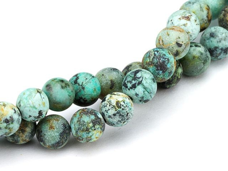 Dakota Stones 6mm Matte African Turquoise Jasper Round Bead Strand
