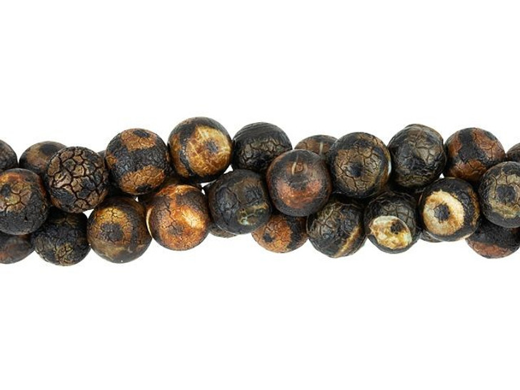 Dakota Stones 6mm Matte Dzi Agate Black Eye Round Bead Strand