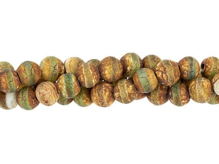 Dakota Stones 6mm Matte Dzi Agate Green Line Round Bead Strand