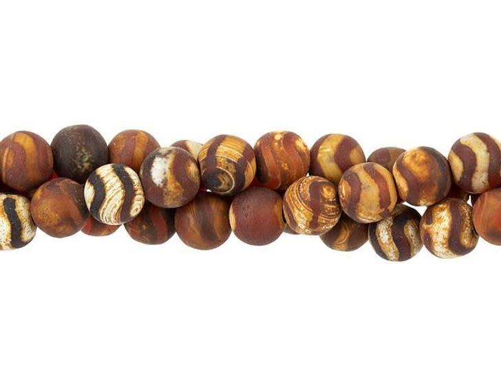 Dakota Stones 6mm Matte Dzi Agate Red Wave Round Bead Strand