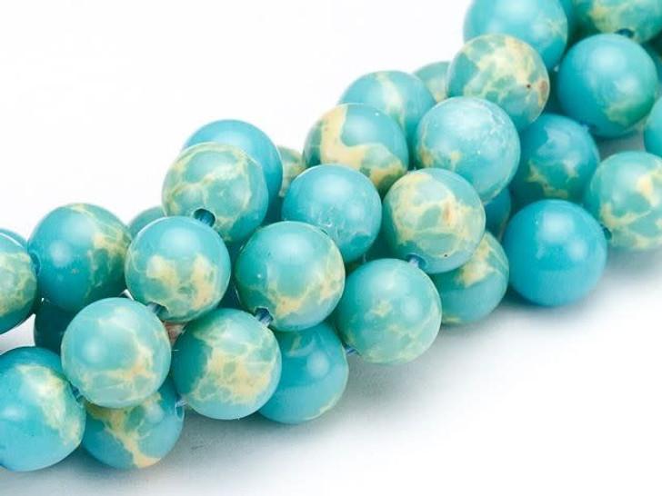 Dakota Stones 6mm Turquoise Blue Impression Jasper Round Bead Strand