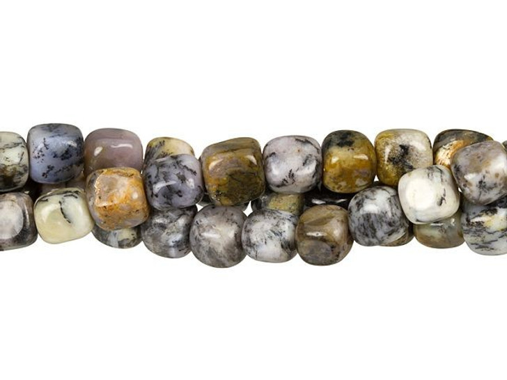 Dakota Stones 7mm Black Moss Opal Cube Bead Strand