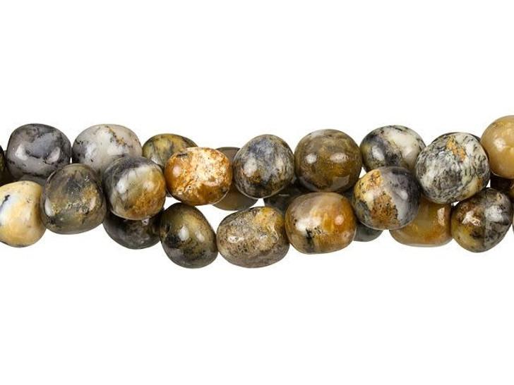 Dakota Stones 8 x 10mm Black Moss Opal Tumble Nugget Bead Strand