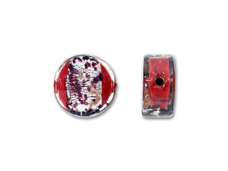 Venetian Glass Bead 14mm La Crima Ca'd'Oro Coin - Ruby