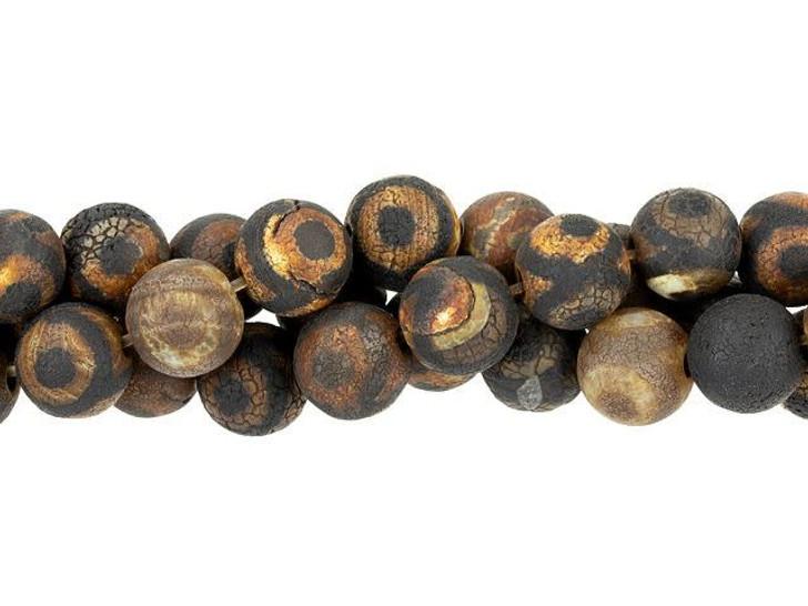 Dakota Stones 8mm Matte Dzi Agate Black Eye Round Bead Strand