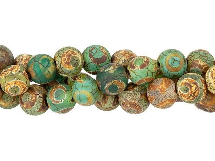 Dakota Stones 8mm Matte Dzi Agate Green Eye Round Bead Strand