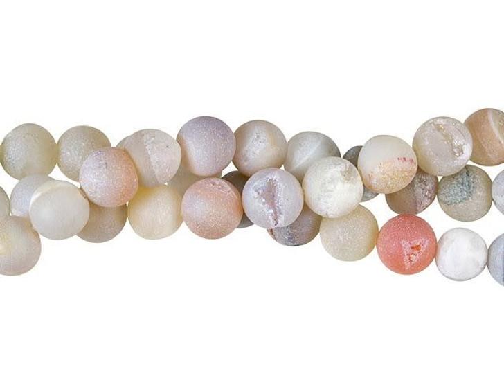 Dakota Stones 8mm Natural AB Druzy Agate Round Bead Strand