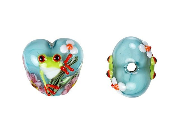 Grace Lampwork Happy Frog Heart Focal Bead