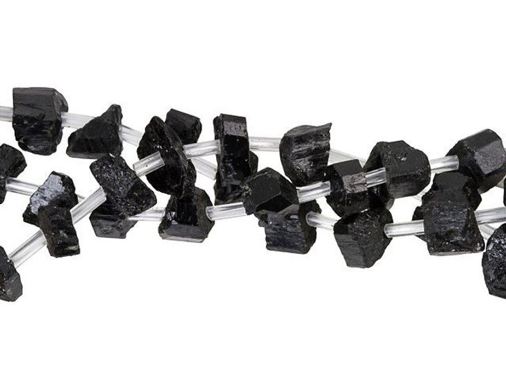Dakota Stones 9-10mm Black Tourmaline Rough Nugget Bead Strand