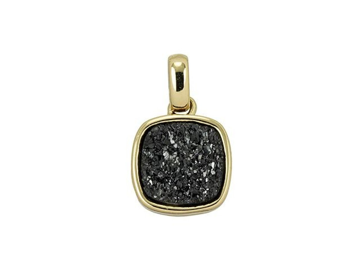 Dakota Stones 9mm Black Druzy Gold-Plated Square Charm