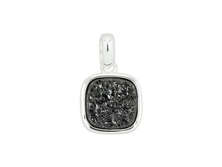 Dakota Stones 9mm Black Druzy Silver-Plated Square Charm