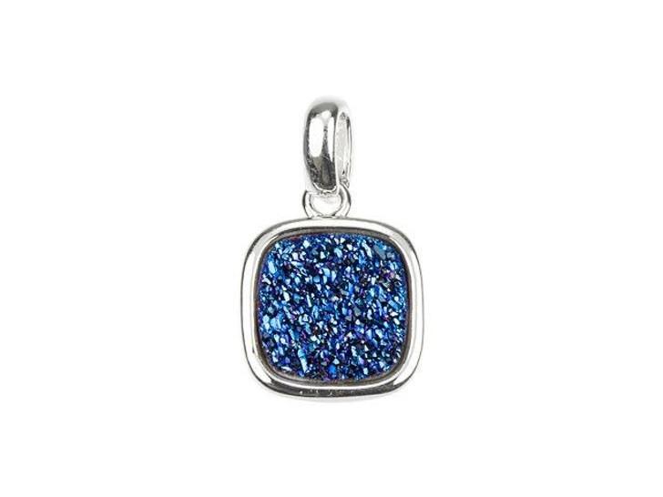 Dakota Stones 9mm Blue Druzy Silver-Plated Square Charm