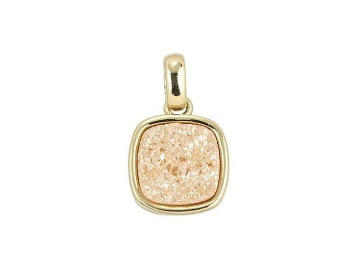 Dakota Stones 9mm Rose Gold Druzy Gold-Plated Square Charm