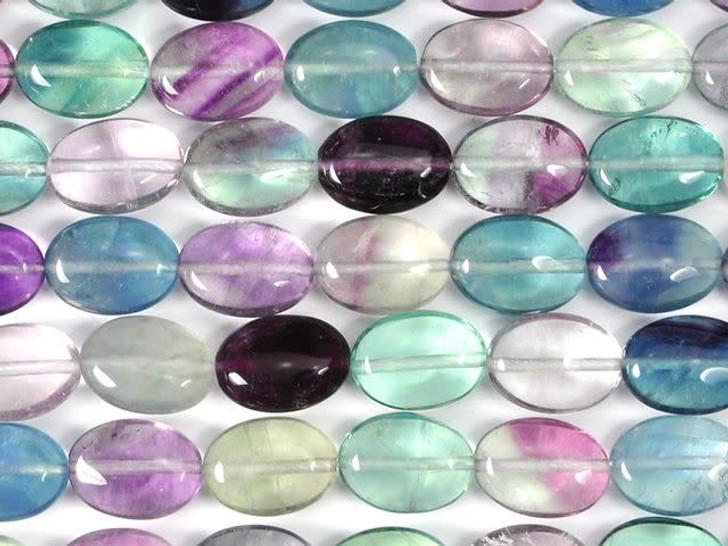 Dakota Stones Banded Fluorite 10x14mm Oval Bead Strand