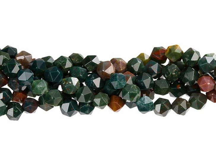 Dakota Stones Bloodstone 6mm Star Cut Round Bead Strand