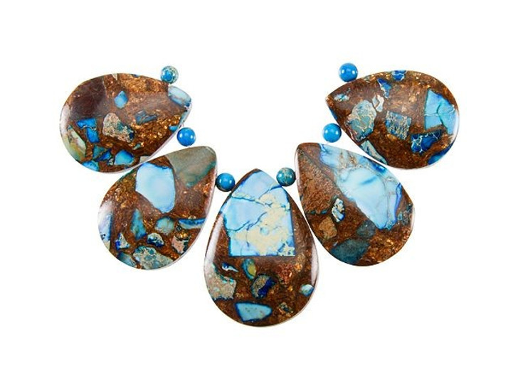 Dakota Stones Blue Bronzite Teardrop Pendant Set (5pc)