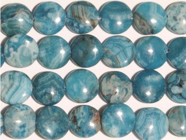 Dakota Stones Blue Crazy Lace Agate 12mm Coin Bead Strand