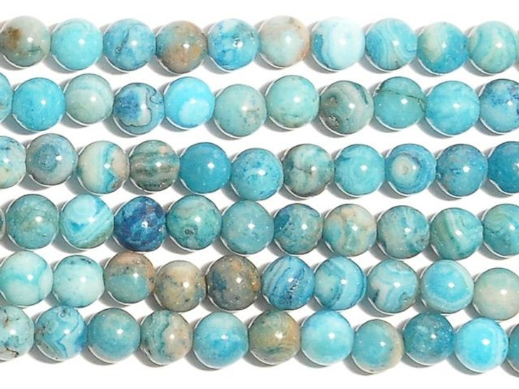 Dakota Stones Blue Crazy Lace Agate 4mm Round Bead Strand