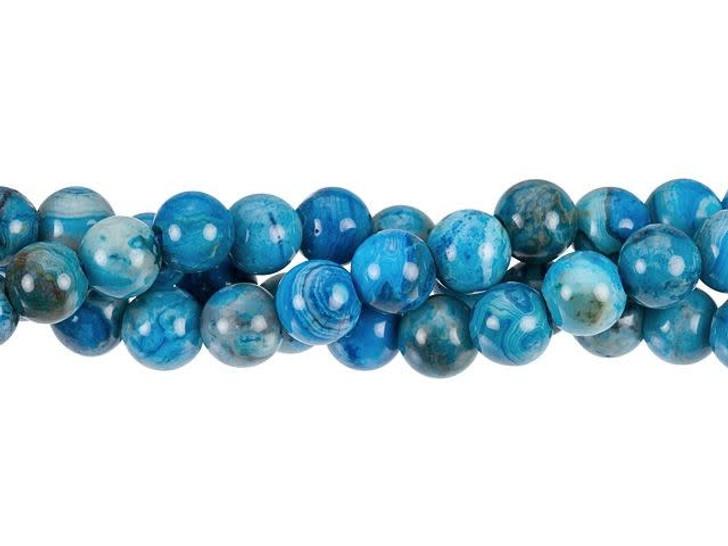 Dakota Stones Blue Crazy Lace Agate 8mm Large-Hole Round Bead Strand