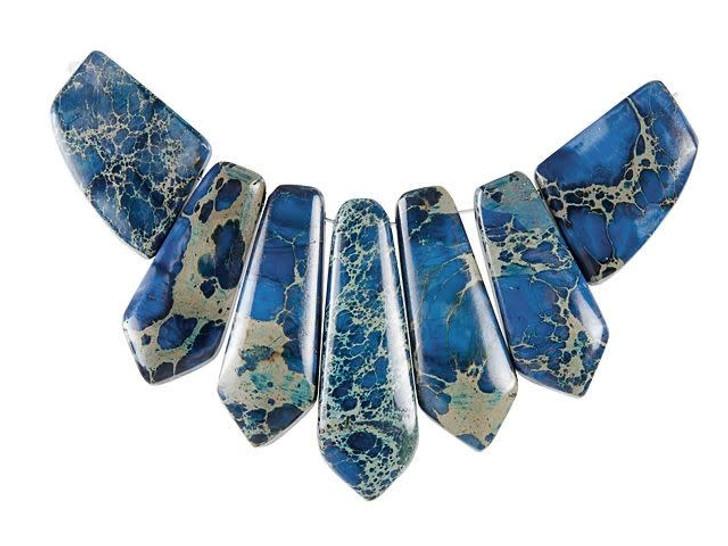 Dakota Stones Blue Impression Jasper Pointed Pendant Set (7pc)