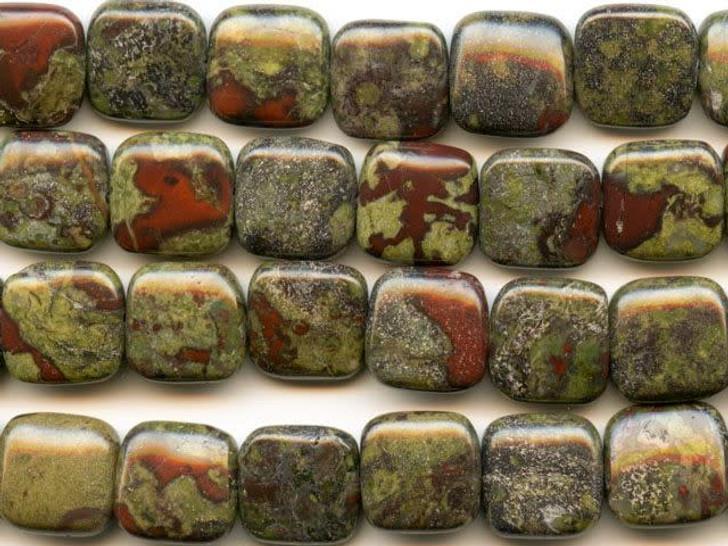 Dakota Stones Dragon Blood Jasper 12mm Square Bead Strand