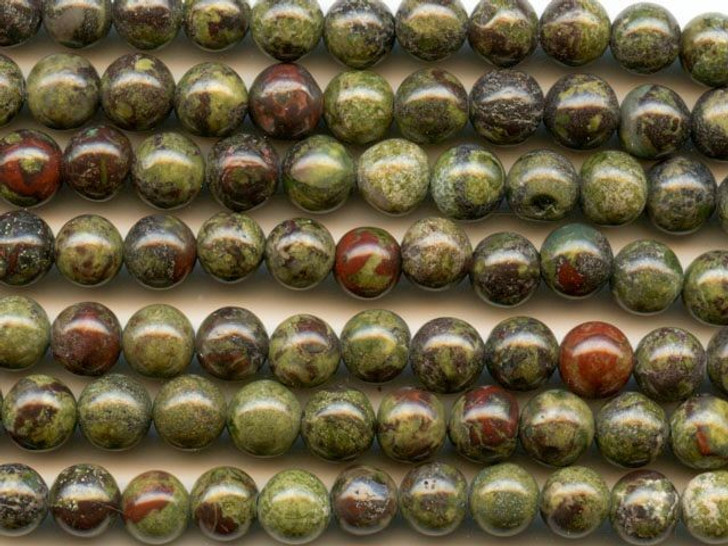 Dakota Stones Dragon Blood Jasper 6mm Round Bead Strand